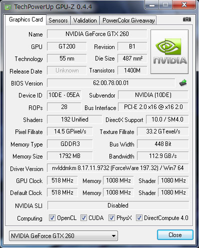 GPU-ZでGeForce GTX 260を見る